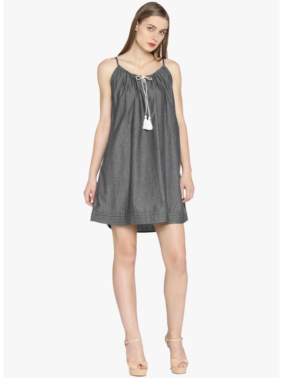 BROOKLYN TASSEL CHAMBRAY DRESS