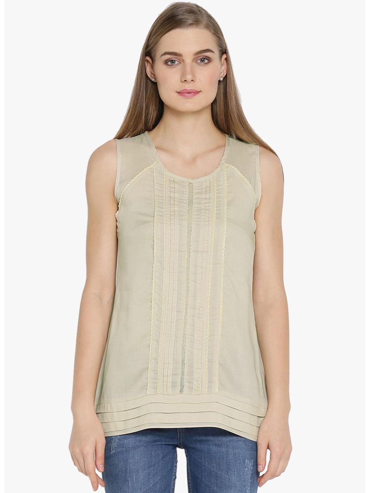 ALISON PLEATED LACE TOP