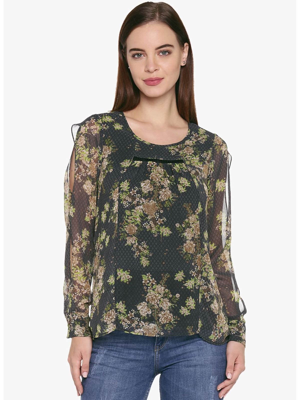 MIRANDA PRINTED CUTOUT TOP