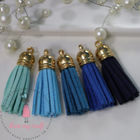 Small Faux Leather Tassel - Blue Family