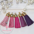 Small Faux Leather Tassel - Pink Family