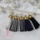 Small Faux Leather Tassel - Ebony & Ivory