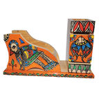 Mithila Painting Wooden Pen stand Card Holder mobile holder Desk Organiser