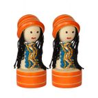 Pencil sharpener wooden doll shapes