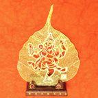 Gold plated leaf dancing Ganesha