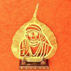 Gold plated leaf Sai baba