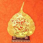 Gold plated leaf Ganesha
