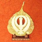 Gold plated leaf Khanda Sahib