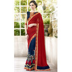 Georgette Red And Violet Color Saree