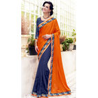 Crepe Jacquard Orange And Grey Color Saree
