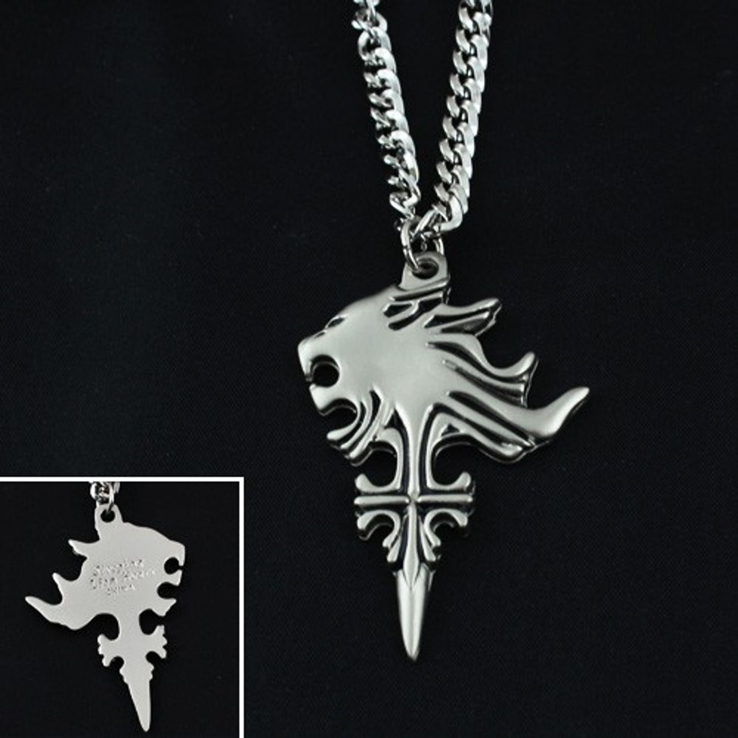 Final fantasy viii ff8 sleeping lion head pendant necklace fft0004 zoom mozeypictures Choice Image