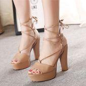 Stylish Bandage Block Heels in 2 Colors - KP001756