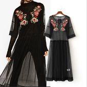 Transparent Embroidery Yarn Dress - KP002168