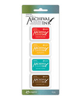 Wendy Vecchi Mini Archival Ink Kits - Carnation Red, Sunflower, Garden Patina, Potting Soil