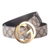 Gucci Grey Belt Golden Buckle