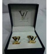 Louis Vuitton Logo Gold Cufflinks