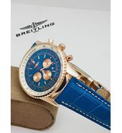 Breitling Blue Strap Golden Dial Watch