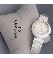 Omega White Chain Ladies Luxury Watch
