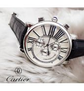 Cartier Black Leather Strap Watch