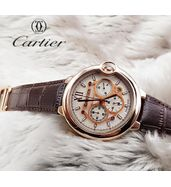 Cartier Brown Leather Strap Watch