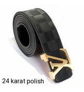 Louis Vuitton Black Check Golden Buckle Leather Belt