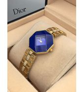 Christian Dior Golden Chain with Blue Dial Ladies Watch