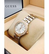 Guess Dual Tone Chain with White Dial Ladies Watch