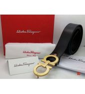 Salvatore Ferragamo Plain Black Leather Belt