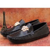 Versace Black Leather Loafers