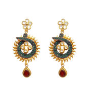 Fancy eardrops with kundan & ruby beads