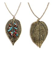 Double sided leaf necklace