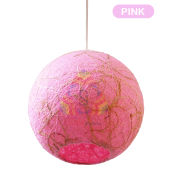 Salebrations Pink Hanging Ball Lamp Shades Yarn With Banana Fiber And Led Bulb