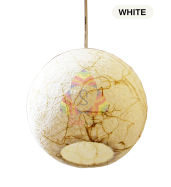 Salebrations White Hanging Ball Lamp Shades Yarn With Banana Fiber And Led Bulb