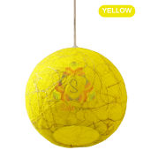 Salebrations Yellow Hanging Ball Lamp Shades Yarn With Banana Fiber And Led Bulb