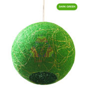 Salebrations Dark Green Hanging Ball Lamp Shades Yarn With Banana Fiber And Led Bulb
