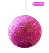 Salebrations Magentha Hanging Ball Lamp Shades Yarn With Banana Fiber And Led Bulb