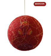 Salebrations Maroon Hanging Ball Lamp Shades Yarn With Banana Fiber And Led Bulb