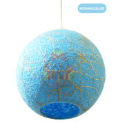 Salebrations Menaka Blue Hanging Ball Lamp Shades Yarn With Banana Fiber And Led Bulb