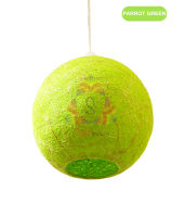 Salebrations Parrot Green Hanging Ball Lamp Shades Yarn With Banana Fiber And Led Bulb