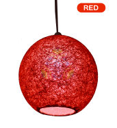 Salebrations Red Hanging Ball Lamp Shade With Yarn And Led Bulb