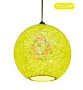 Salebrations Yellow Hanging Ball Lamp Shade With Yarn And Led Bulb
