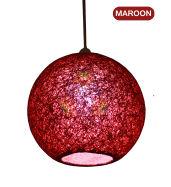 Salebrations Maroon Hanging Ball Lamp Shade With Yarn And Led Bulb