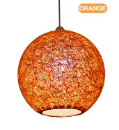 Salebrations Orange Hanging Ball Lamp Shade With Yarn And Led Bulb