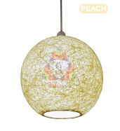 Salebrations Peach Hanging Ball Lamp Shade With Yarn And Led Bulb