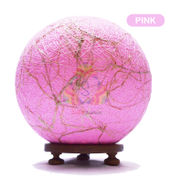 Salebrations Pink Ball Table Lamp Shades Yarn With Banana Fiber And Wooden Base With Led Bulb