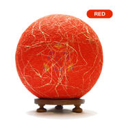 Salebrations Red Ball Table Lamp Shades Yarn With Banana Fiber And Wooden Base With Led Bulb