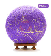 Salebrations Violet Ball Table Lamp Shades Yarn With Banana Fiber And Wooden Base With Led Bulb