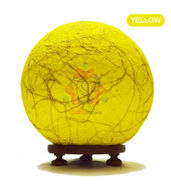 Salebrations Yellow Ball Table Lamp Shades Yarn With Banana Fiber And Wooden Base With Led Bulb