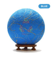 Salebrations Blue Ball Table Lamp Shades Yarn With Banana Fiber And Wooden Base With Led Bulb