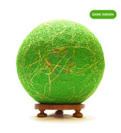 Salebrations Dark Green Ball Table Lamp Shades Yarn With Banana Fiber And Wooden Base With Led Bulb